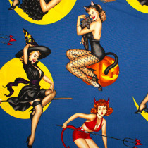 Bewitched Pinup Girls Blue by Alexander Henry
