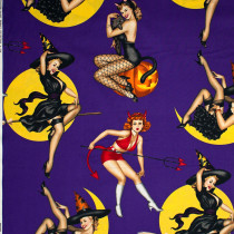 Bewitched Pinup Girls Purple by Alexander Henry