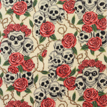 The Rose Tattoo (Skulls and Roses) Tea by Alexander Henry Fabrics