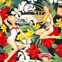 Aloha Girls Black by Alexander Henry