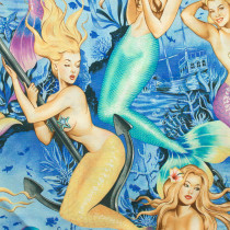Sea Sirens (Mermaid Pinups) Blue by Alexander Henry