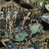 Skullduggery Zombie Apocalypse Turquoise/Grey by Alexander Henry