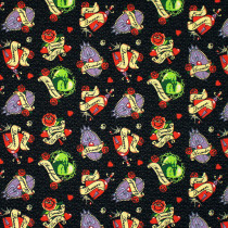 Diabolically Devious (Disney Villain) Tattoo Badges Black by Camelot Fabrics
