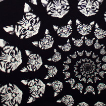 Cat-finity Black and White by Alexander Henry Fabric