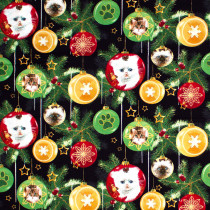 Fireside Kittens Ornaments Black by Henry Glass Fabrics
