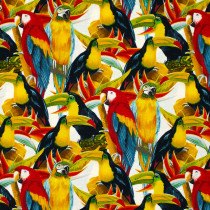 Birds In Paradise Birds White by Henry Glass Fabrics
