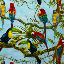 Birds In Paradise Birds on Branches Blue by Henry Glass Fabrics