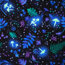 Summer Night Soiree Glow-in-the-Dark Tossed Leaves and Mushrooms Black by Henry Glass Fabrics