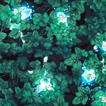 Summer Night Soiree Glow-in-the-Dark Ivy Leaves and Peeking Fairies Black/Green by Henry Glass Fabrics
