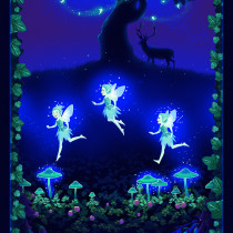 "Summer Night Soiree Glow-in-the-Dark Fairies on the Meadow 61cm (24"") Fabric Panel Multi by Henry Glass Fabrics"