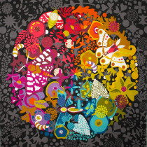 """Alison Glass Art Theory Grand Circle 61cm (24"""") Fabric Panel Grey by Andover"""