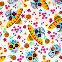 Day of the Dead Calaveras Day White by Andover Fabrics