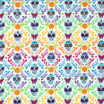 Day of the Dead Mariposas Day White by Andover Fabrics