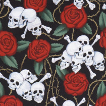 Skulls (and Roses) Black by Alexander Henry Fabrics