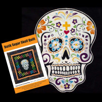 Batik Sugar Skull Fabric Panel & Quilt Pattern Pack by Voodoo Rabbit Fabric