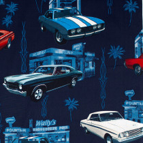 Muscle Car Diner Navy by Hoffman Fabric