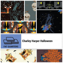 Charley Harper Halloween FQ pack 7pc by Birch Organic Fabrics