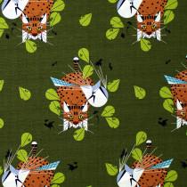 Charley Harper Barkcloth 2021 Blue Jay Patrol Green by Birch Organic Fabric