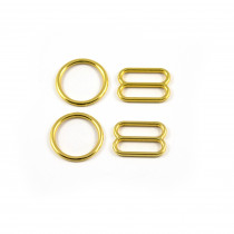 Bra Strap Adjustment Sliders and Rings 12mm (1/2inch) Gold