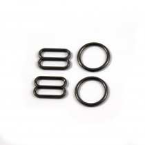 Bra Strap Adjustment Sliders and Rings 12mm (1/2inch) Gunmetal