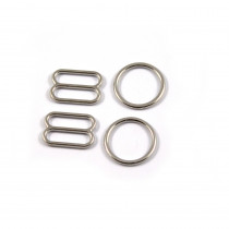 Bra Strap Adjustment Sliders and Rings 12mm (1/2inch) Silver