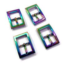 """Emmaline Bags Buckle w/ Center Bar 20mm (3/4"""") Iridescent Rainbow - 4pk"""