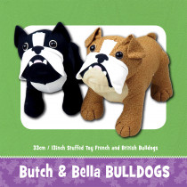 Butch and Bella Bulldog Soft Toy Pattern by Funky Friends Factory