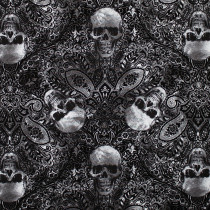 Wicked Fog Skull Etching Black by Timeless Treasures