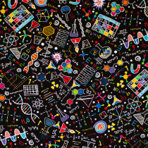 Bright Science Doodles Black by Timeless Treasures
