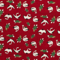 Dobby Swans and Turtles Red by Cosmo Textiles