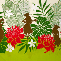 Hawaiian Border Print Green by Cosmo Textiles