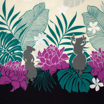 Hawaiian Border Print Black by Cosmo Textiles