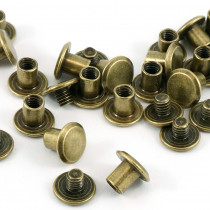 "Emmaline Bags Chicago Screws Medium 10mm x 6mm (3/8"" x 1/4"") in Antique Brass - 50pk"