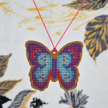 Cross Stitch Style Kit Wood Ornament Butterfly