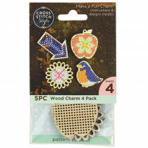 Cross Stitch Style Wood Charm Bird-Apple-Arrow-Flower 4pk