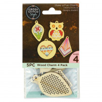 Cross Stitch Style Wood Charm Diamond-Heart-Leaf-Owl 4pk
