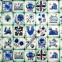 From Porto With Love Pastry Shop Tiles Mint by Cotton & Steel