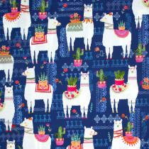La Vida Loca La Llama Navy by Michael Miller Fabric
