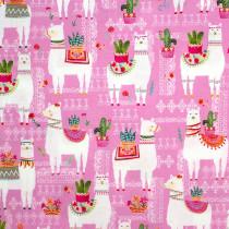 La Vida Loca La Llama Pink by Michael Miller Fabric