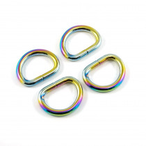 "Emmaline Bags D-Ring 20mm (3/4"") Iridescent Rainbow - 4pk"