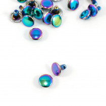 Emmaline Bags Metal Double-Capped Rivets Iridescent Rainbow 8mm x 6mm - 20 sets