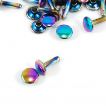 Emmaline Bags Metal Double-Capped Rivets Iridescent Rainbow 9mm x 8mm - 20 sets
