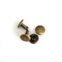 Metal Double-Capped Rivets Antique Brass 9mm x 8mm - 50 sets