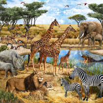 "Savanna Animals Digital Fabric Panel 43"" (110cm) by Northcott"