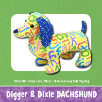 Digger & Dixie Duchshund Soft Toy Sewing Pattern by Funky Friends Factory