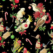 Christmas Australian Bush Birds Black by Devonstone
