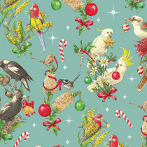 Christmas Australian Bush Birds Blue by Devonstone