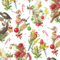 Christmas Australian Bush Birds White by Devonstone