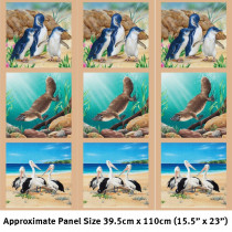 Wildlife Art 2 - 15inch Fabric Panel - Penguins, Platypus, Pelican Multi by Devonstone