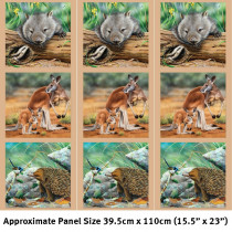 Wildlife Art 2 - 15inch Fabric Panel - Wombat, Kangaroo, Echidna Multi by Devonstone